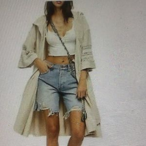 FREE PEOPLE Cotton. Hooded Open front Duster